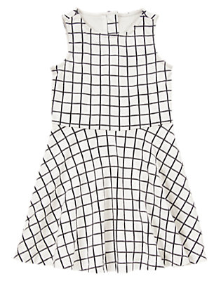 Girls White Windowpane Dress by Gymboree