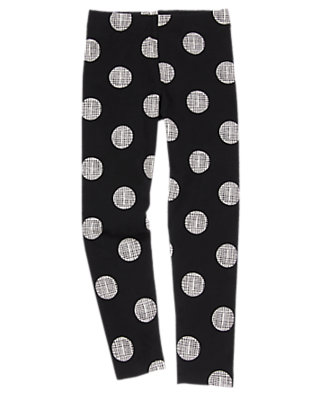 Girls Black Dotted Leggings by Gymboree