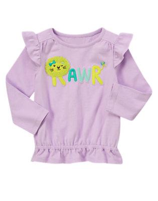 Toddler Girls Lavender Rawr Ruffle Top by Gymboree