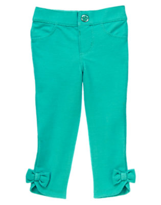 Toddler Girls Turquoise Bow Jeggings by Gymboree