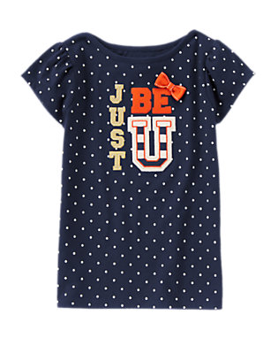 Girls Gym Navy Just Be U Dots Tee by Gymboree