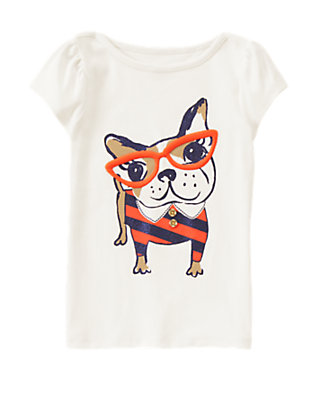 Girls White Smart Frenchie Tee by Gymboree