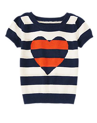 Girls Gym Navy Stripe Striped Heart Short Sleeve Sweater by Gymboree