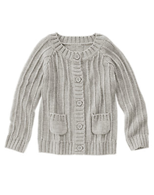 Girls Heather Grey Chunky Knit Cardigan by Gymboree