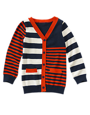 Girls Gym Navy Stripe Mixed Stripe Cardigan by Gymboree