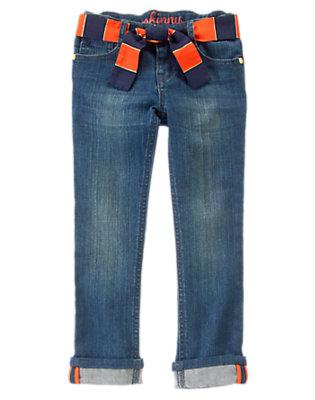 Girls Denim Striped Belt Skinny Jeans by Gymboree
