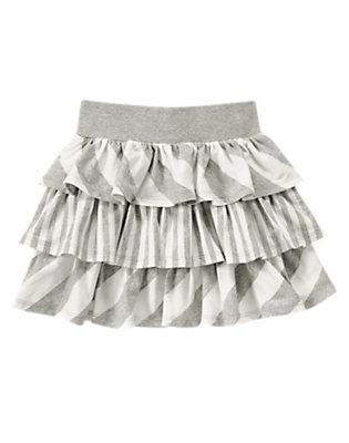 Girls Heather Grey Stripe Mixed Stripe Skirt by Gymboree