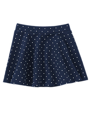 Girls Gym Navy Polka Dot Mini Skirt by Gymboree