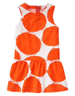 Girls Red Orange Dots Sketched Bubble Dress by Gymboree