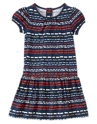 Girls Gym Navy Stripe Stitch Striped Dress by Gymboree