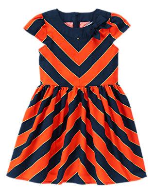 Girls Red Orange Stripe Chevron Bow Dress by Gymboree