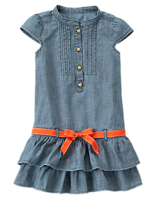 Girls Chambray Chambray Ruffle Dress by Gymboree