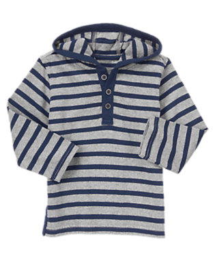 Toddler Boys Gym Navy Stripe Striped Hooded Henley by Gymboree