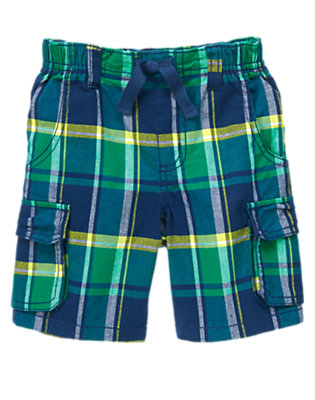 Toddler Boys Monster Green Plaid Plaid Cargo Shorts by Gymboree