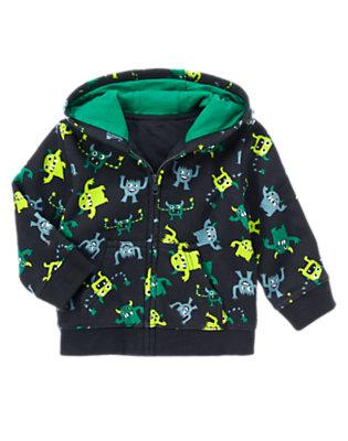 Toddler Boys Black Monster Print Hoodie by Gymboree