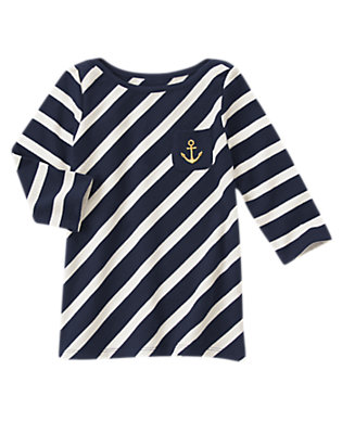 Girls Nautical Navy Striped Anchor Pocket Tee by Gymboree
