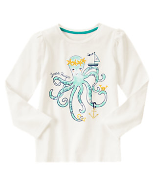 Girls White Free Hugs Octopus Tee by Gymboree