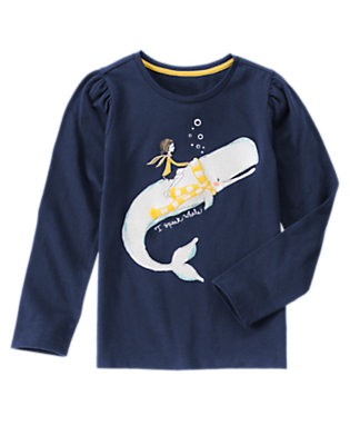 Girls Nautical Navy I Speak Whale Sparkle Tee by Gymboree