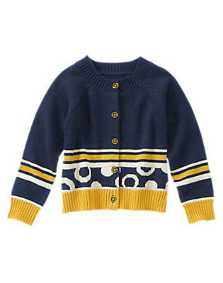 Girls Nautical Navy Colorblocked Dots Cardigan by Gymboree