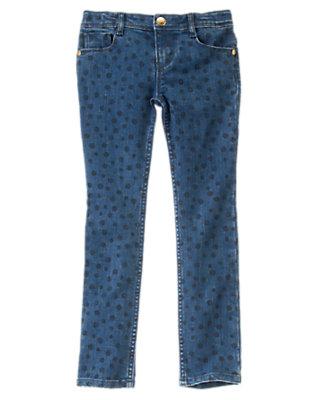 Girls Denim Bubble Dot Jeans by Gymboree