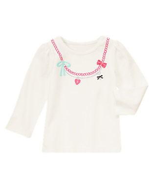 Girls White Charm Necklace Tee by Gymboree
