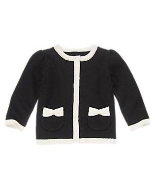 Toddler Girls Black White Trim Cardigan by Gymboree