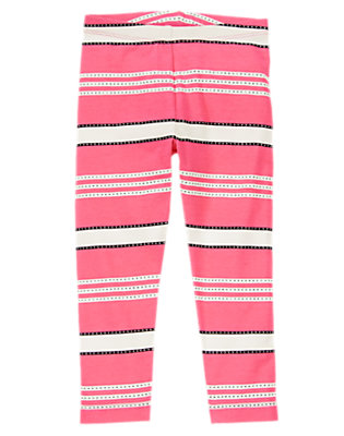 Toddler Girls Pink Poodle Striped Leggings by Gymboree