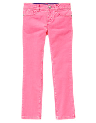 Girls Neon Unicorn Pink Skinny Corduroy Pants by Gymboree