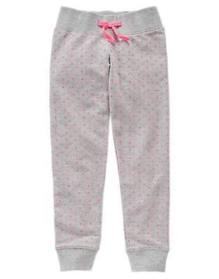 Girls Heather Grey Dotted Sweatpants by Gymboree