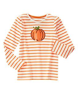 Striped Shimmer Pumpkin Tee