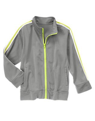 Boys Slate Grey Striped Athletic Jacket by Gymboree