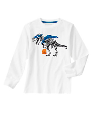 Boys White Trick-Or-T. Rex Long Sleeve Tee by Gymboree