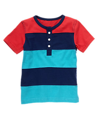 Toddler Boys Gym Navy Stripe Pieced Striped Henley Tee by Gymboree