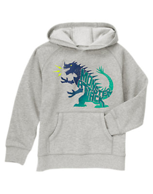 Boys Heather Grey Monster Attack Hooded Pullover by Gymboree