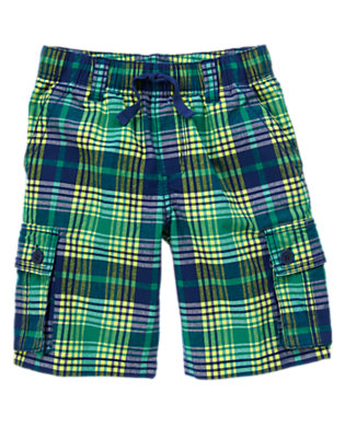 Boys Monster Green Plaid Plaid Cargo Shorts by Gymboree