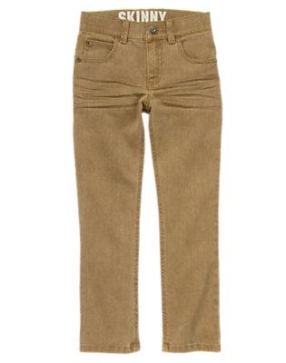 Boys Khaki Skinny Twill Pants by Gymboree