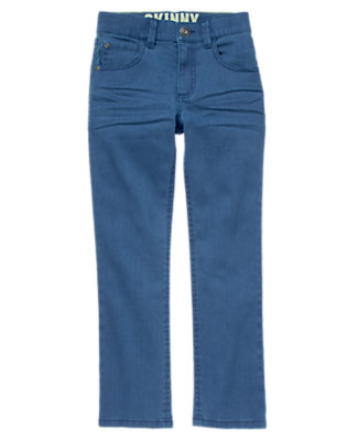 Boys Dusky Blue Skinny Twill Pants by Gymboree