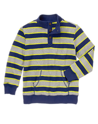 Boys Navy Neon Stripe Striped Thermal Pullover by Gymboree