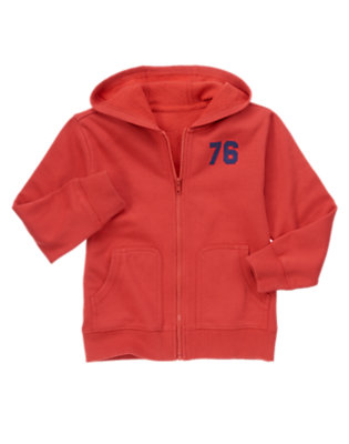 Boys Fire Engine Red 76 Hoodie by Gymboree