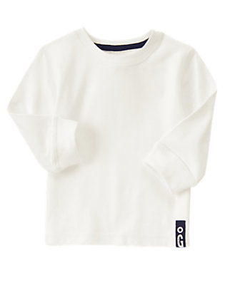 Toddler Boys White Always Soft™ Long Sleeve Tee by Gymboree