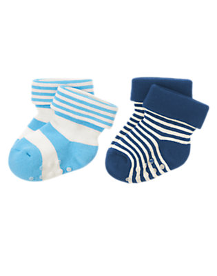 Baby Soft Blueberry Stripe Striped Socks Two-Pack by Gymboree