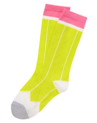 Girls Atomic Lime Pencil Knee Socks by Gymboree