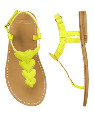 Girls Atomic Lime Heart Sandals by Gymboree