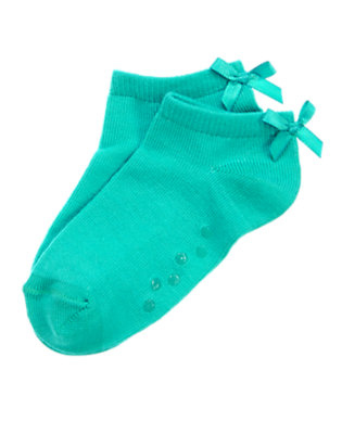 Toddler Girls Turquoise Bow Ankle Socks by Gymboree