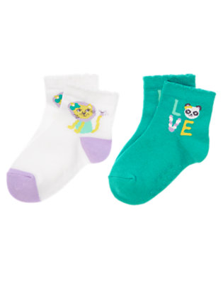 Toddler Girls White Lion and Panda Socks Two-Pack by Gymboree