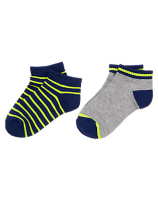 Boys Gym Navy Stripe Striped Ankle Socks Two-Pack by Gymboree