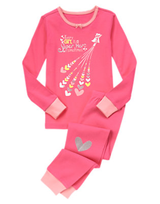 Girls Pink Poppy Every Girl Is A Super Hero Two-Piece Gymmies® by Gymboree