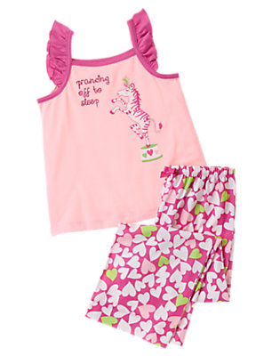 Girls Passion Fruit Pink Prancing Zebra Two-Piece Gymmies® by Gymboree