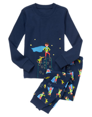 Toddler Boys Nightstar Blue Superguy + Superdog Two-Piece Gymmies® by Gymboree