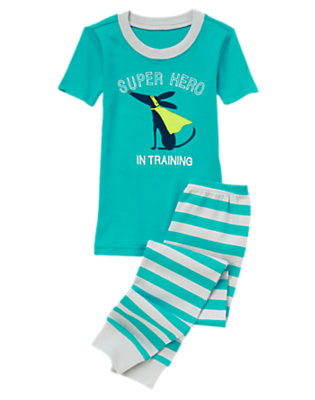 Toddler Boys Turquoise Green Super Hero In Training Two-Piece Gymmies® by Gymboree